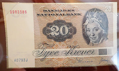 Uncirculated 20 Tyve KRONER 1972 Banknotes of All Nations Denmark Paper Money