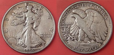 Very Fine 1936P US Walking Liberty Silver 50 Cents