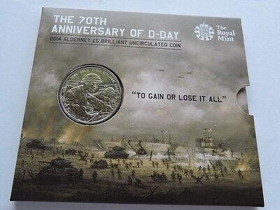 2014 Alderney 70th Anniversary of D-Day £5 Coin Royal Mint Presentation Pack BU
