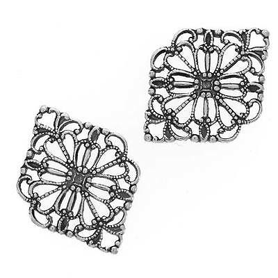 Antiqued Silver Plated Filigree Diamond Connector Links 21mm (4)