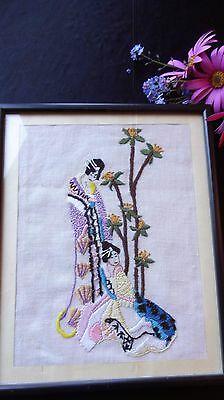 VINTAGE HAND EMBROIDERED LINEN PICTURE ~framed/glass ~Japanese - Geisha Girls