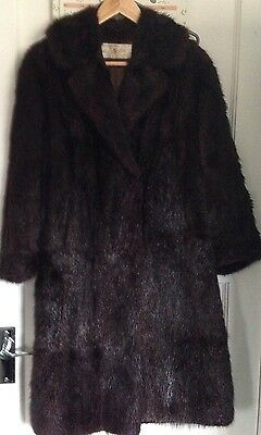 Vintage Beautiful Dark Brown Almost Black Musquash Mink Real Fur Coat