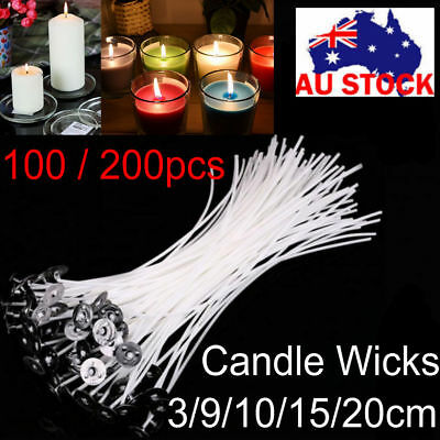 4/6/8 Inch Candle Wicks Pre Waxed Cotton Core with Sustainers Wax Candle Making