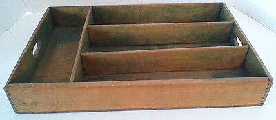Vintage Wood Dovetailed Silverware Tray Box With Handles