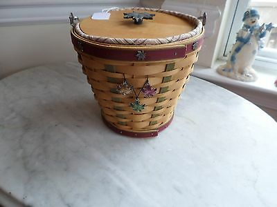 New 2003  Longaberger  Heritage Days Basket Combo Wood Lid Unique Tie On Awesome