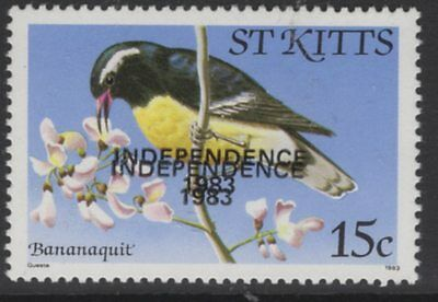 ST.KITTS SG119Ba 1983 15c INDEPENDENCE WITH OVERPRINT DOUBLE MNH