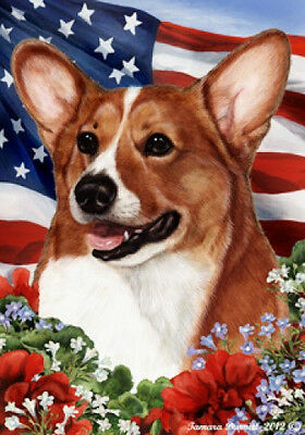 Garden Indoor/Outdoor Patriotic I Flag - Sable Pembroke Welsh Corgi 160451