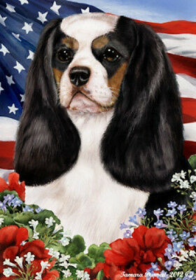 Garden Indoor/Outdoor Patriotic I Flag - Tri Cavalier King Charles Spaniel 16048