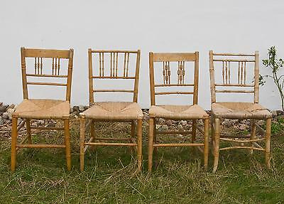 Antique Regency Faux Bamboo Dining Ballroom Chairs C. 1810 For Restoration