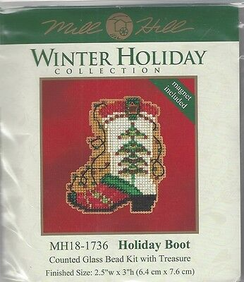 Christmas Holiday Boot Glass Bead Kit Treasure by Mill Hill w Treasure  SALE