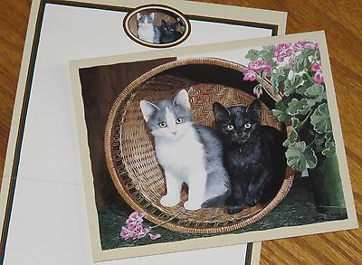 Persis Clayton Weirs Art cats Fievel & Shiner Lang Bookmark Deluxe Note Card 3ct