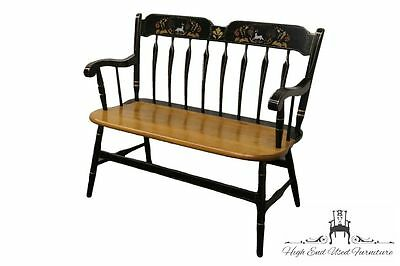 ETHAN ALLEN Heirloom Decorated Deer Stencil Arrow Back Bench 14-6182