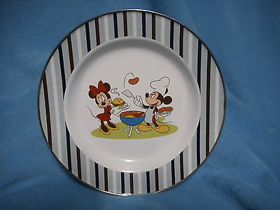 Disney Store Metal Dinner Plate Mickey Minnie Mouse Summer Fun Barbecue Dish