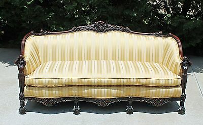 Solid Mahogany ART NOUVEAU Figural Maidens Sofa Attr. to Karpen Chicago,ILL 1910