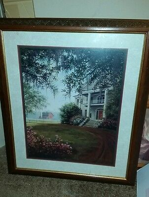 "Home Interior Framed farm house PLANTATION scene Picture 23"" W X 24"" H"
