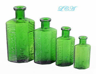 RARE lot of 4 - SUN DRUG POISON bottles EMERALD GREEN w/ FLYING mortar & pestle
