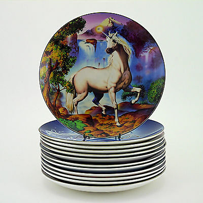 Twelve Limited Edn 'Diamond Unicorn' Plates by Royal Doulton for Franklin Mint