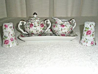Vintage Lefton China Table Ware Sugar Creamer Tray S and P's Roses 5 Pc