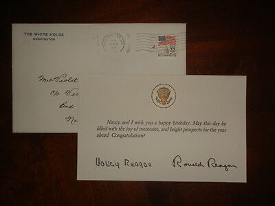 1988 Signed Nancy & Ronald Reagan Autographed Birthday Card White House Envelope
