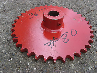 """LARGE #80 ROLLER CHAIN SPROCKET 12"""" w HUB NOS 1 3/8"""" bore 36 TOOTH - STEAMPUNK"""