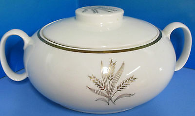Golden Wheat Pattern by W.S George Gold Trim Mid Century Covered Casserole Dish