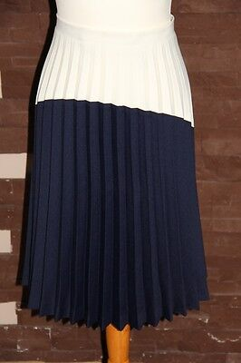 vintage 70s 80s two tone white and navy pleated skirt size 10