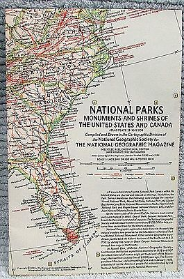 1958 National Geographic Map US Canada National Parks Monuments Shrines FREE S/H