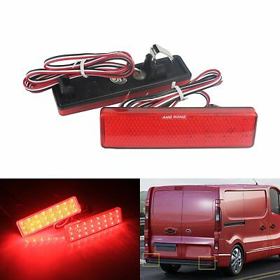 Red Lens LED Rear Bumper Reflector Brake Tail Stop Light Renault Master Trafic