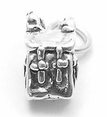 925 Sterling Silver 3D Backpack Charm