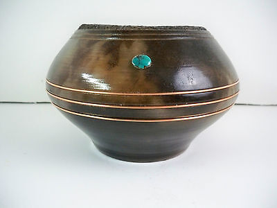 Navajo American Indian Pottery Etched Vase with Turquoise & Copper Gerald Pinto