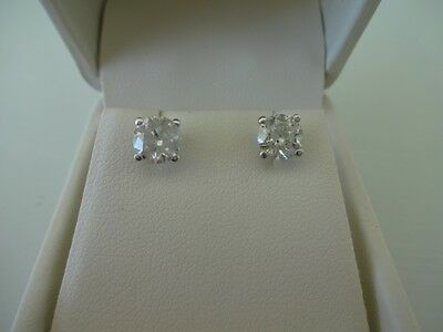 1.51ct Diamond Solitaire Earrings Secure Screw Backs 14k White Gold Paperwork