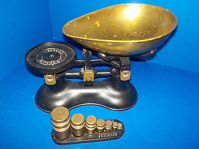 Vintage Victor Scale England Cast Iron with Weights
