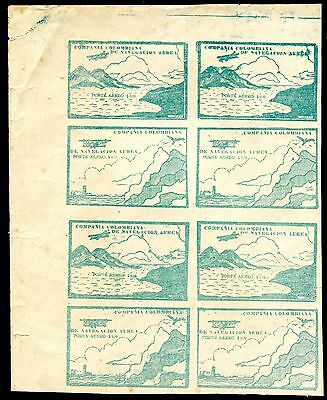1920 - Colombia - Private Air Company 10C Green Block Of 8, Expertised