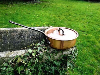 Vintage French  Large Fabrication Francaise Copper Saute Pan And Lid Approx 3Kg
