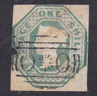 GB used abroad in CRIMEA OXO 1/- green embossed 1847 cut square SG cat £2000