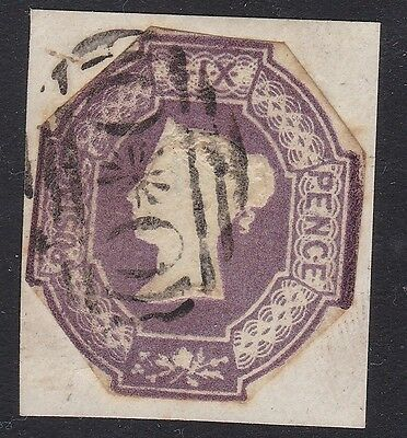 GB used abroad in CRIMEA OXO 6d violet 1854 embossed cut to shape SG cat £2000