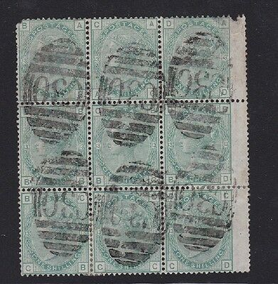 GB used abroad in VALPARAISO CHILE C30 1/- green pl 13 BLOCK OF 9 faults RARE!!!