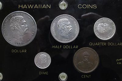 Complete 1883 Hawaii Coin Set 1847 Penny Cent Dollar 50 Cents 25 Cents 10 Cents