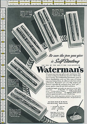 Waterman's Fountain Pen and Pencil Sets 1935 magazine print ad