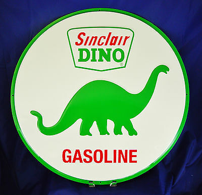 "Sinclair Dino Gasoline Garage Metal Tin Sign 24"" Vintage Decor Embossed Large"