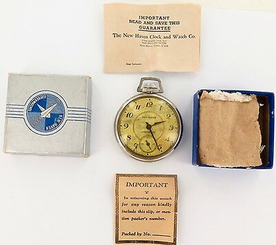 `vintage New Haven Compensated Pocket Watch, Original Box & Papers, Working.