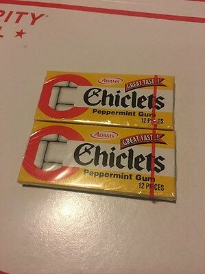 Collectible Chiclets Adams the Original Candy Coated Gum Peppermint 2 PKGS