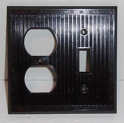 Vintage Art Deco Bakelite Brown Ribbed Switch Outlet Combo Cover