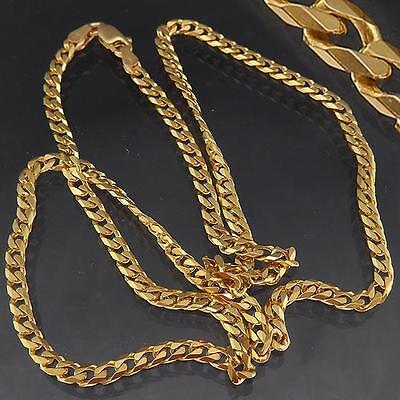 Strong Geometric Solid 9k YELLOW GOLD CURB LINK NECKLACE CHAIN 512mm 11.7gm