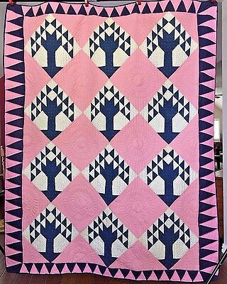 Antique Hand Sewn Tree of Life or Centennial Tree Quilt in Indigo and Pink