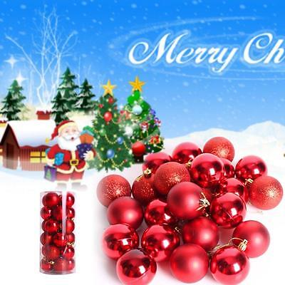 24x Christmas Tree Xmas Balls Decoration Baubles Parties Wedding Ornament Red BC