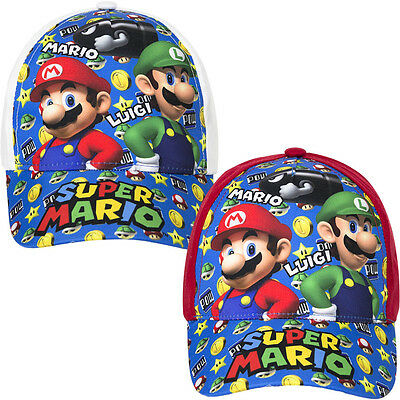 Nintendo Super Mario Bros Boys Baseball Cap Summer Sun Hat 3-10 Yrs NEW 2017
