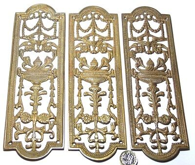 Set X 3 Vintage Heavy Brass Fancy Door Finger Plate Antique Edwardian Torch/urn