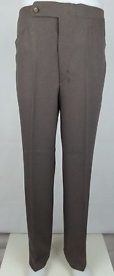 Vtg 1970s Brown Poly Sta Press Tapered Frogmouth Trousers  W34 DZ27