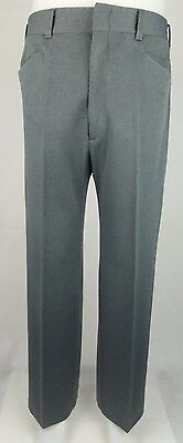 Vtg 1970s Grey Poly Sta Press Straight Leg Frogmouth Trousers Mod W33 DZ29